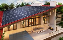 Solar panels on the roof of the house